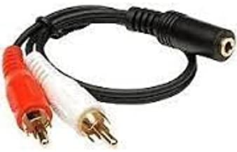 Improvhome 3.5mm Female Stereo Jack to 2 RCA Male Plugs Cable 1.5 Meter / 4.9 Feet - Black