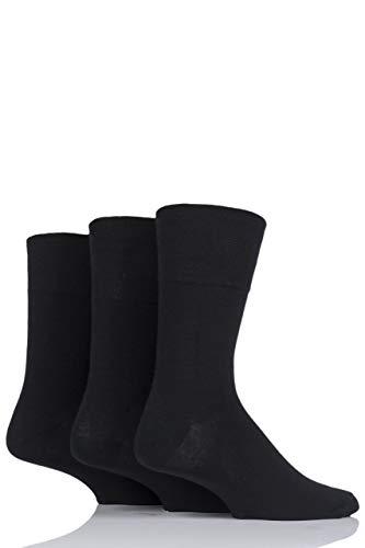 IOMI Herren 3 Paar Footnurse Gentle Grip Diabetische Socken - Schwarz 39-45