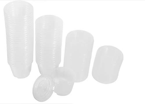 4 misure 50PCS monouso tazze di plastica trasparente salsa chutney scatole con coperchio cibo da asporto contenitore di imballaggio 28,3 gram, 56,7 gram, 85 gram, 113,4 gram 4oz