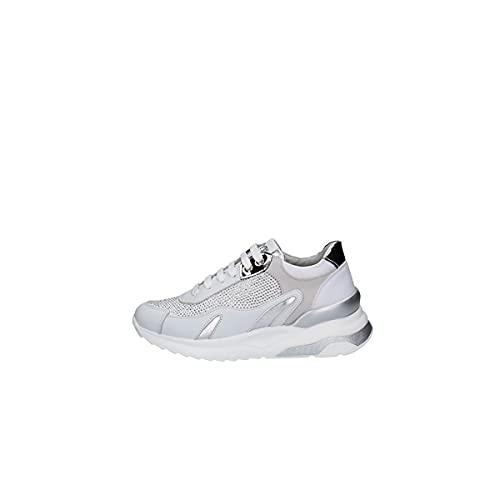 KEYS Zapatos Deportivos de Mujer en Piel Blanca y Plateada 4450-WHITE 38 EU