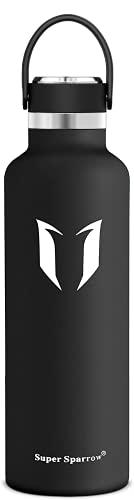 Super Sparrow Botella de agua de acero inoxidable de 750 ml – Botella isotérmica perfecta para correr, fitness, yoga, al aire libre y camping, libre de BPA, verde oscuro