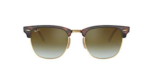 Ray-Ban Herren Clubmaster Sonnenbrille, Mehrfarbig (Gestell: rot (Havana),Gläser: grünverlauf 990/9J), Small (Herstellergröße: 49)