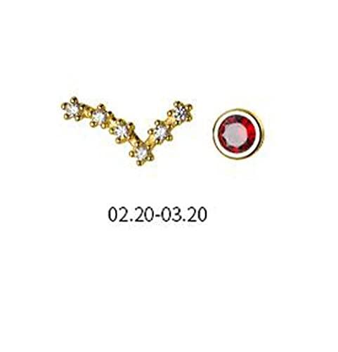 Good dress Pendientes de Diamantes de Moda para Mujer de Plata S925, Pendientes de Constelación AsimétricaPiscis, Plata 925