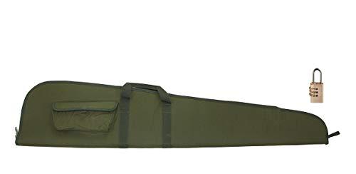 Akah Gewehrfutteral für Langwaffen mit Zielfernrohr grün mit Aussentasche inkl. Zahlenschloss