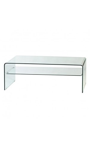 CAMINO A CASA - Table Basse en Verre rectangulaire Transparente 120 cm