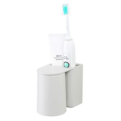 Zahnbürstenhalter, Wandmontierter Zahnpasta Caddy und Elektrischer Zahnbürstenständer mit Magnetischem Becher, Aufbewahrungs- und Organisationsset für das Badezimmer (Grau, 7.8x12x10 cm)