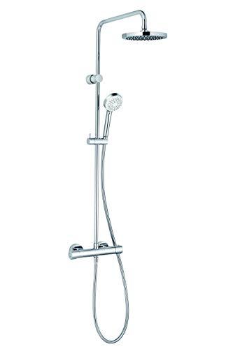 KLUDI LOGO Basic 200 Dual ShowerSystem Duschsystem (Regendusche mit Duschkopf, Duschstange und Thermostat) chrom, 6809405-00