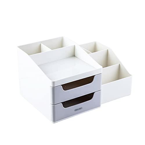 FXJ Office Desk Organizer, con cajón, Cajas de Almacenamiento de Mesa Multifuncional para Suministros de Oficina Accesorios (Color : Gris, tamaño : 27.1X19.4X14.5cm)