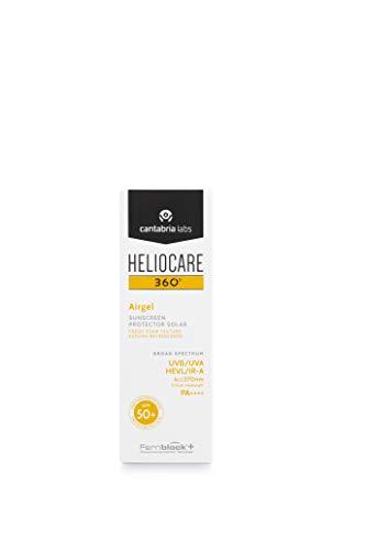Heliocare 360º Airgel SPF 50+ - Crema Solar Facial Ligera, Fórmula Espuma, Frescura para Todo Tipo de Piel, Absorción Inmediata, Muy Alta Protección, 60ml