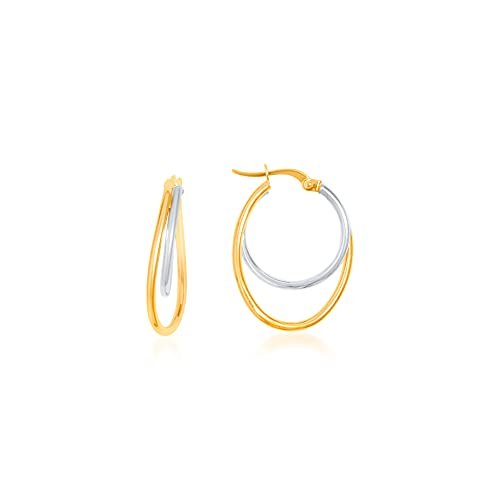 Pendientes de aro ovalados de 2 hilos lisos 25 mm/18 mm/1 mm bicolor 9 KT (375) 1,1 g.