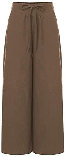 ZHENWULU Pantalones de Pierna Ancha de Moda para Las Mujeres Celmia Cintura Alta de algodón Palazzo Palazzo Casual Pantalones Sueltos Vintage Pantalon Femme Plus Tamaño-XXL_Café Excellent