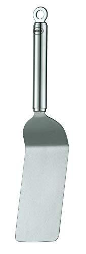 RÖSLE Sandwich-Palette gekröpft, Hochwertiger Edelstahlwender mit Rundgriff und Aufhängeöse, Edelstahl 18/10, 32 cm, Silber