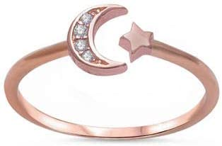 Boho Ring for Her Crescent Moon Ring Silver Dainty Ring