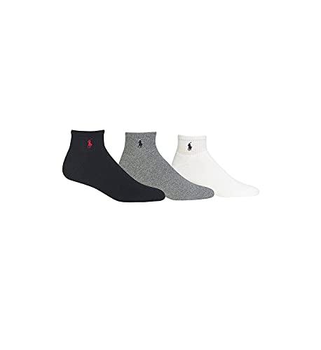Polo Ralph Lauren 3 Pack Classic Men's Cotton Sport Socks,(Black, White, Grey) O/S