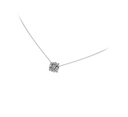 Les Plaisirs de Stella - Collana in nylon con ciondolo, in argento rodiato 925/000 e ossido di zirconio, forma rotonda, solitario a cerchio 3 mm