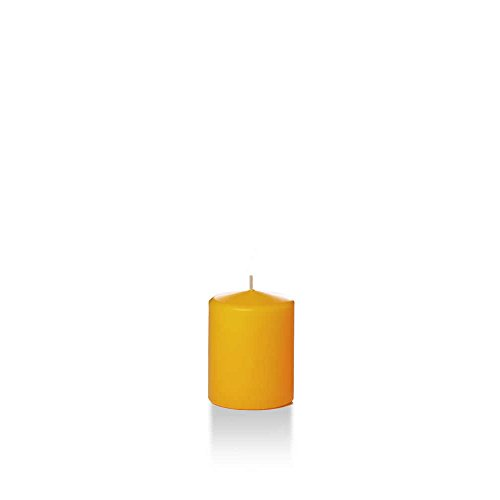 Yummi 2.25' x 3' Harvest Gold Slim Round Pillar Candles - 4 per Pack