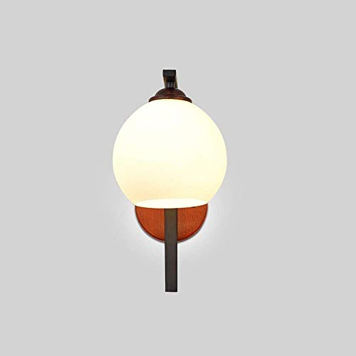 Moderne Scandinavische glazen bal wandlampen slaapkamer zwarte LED muur schans spiegel lamp lamp lamp industriële lamp voor thuis Loft Decor vintage antieke massief hout E27 wandlamp