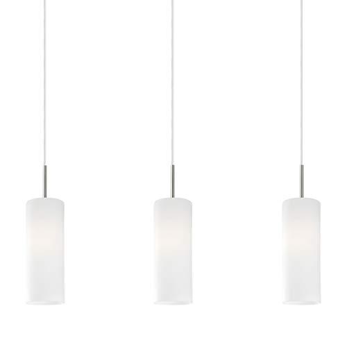 Eglo Lampe Suspension Troy 3 à 3 Lampes en Acier et Verre Pour 3 Ampoules E27 Max 60 W Non Incluses Nickel Mat/Blanc Satiné 72 X 10,5 X 110 cm