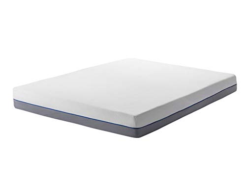 Beliani EU King Size Firm Mattress 5ft3 White Grey Foam Filling Polyester Cover Glee