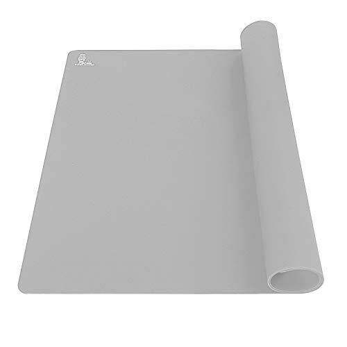 Super Kitchen Halkfri silikon bakmatta, silikon bakmattor, non-stick degrullande knådningsmatta, bordstablett, bänkskydd, fondant/sockerhantverk/pizza/bröd/kakmatta, 60 × 40 cm (grå)