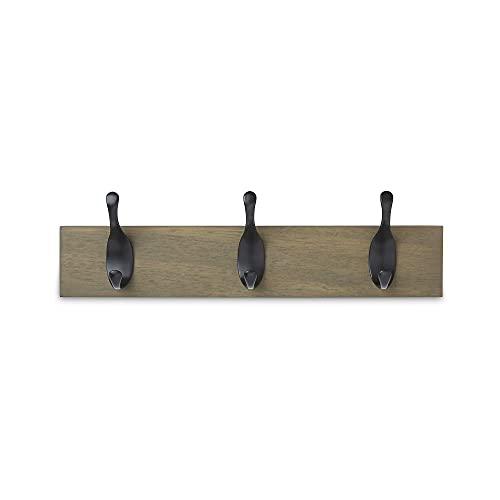 Amazon Basics - Perchero de madera de pared, 3 ganchos modernos 34 cm, Madera noble