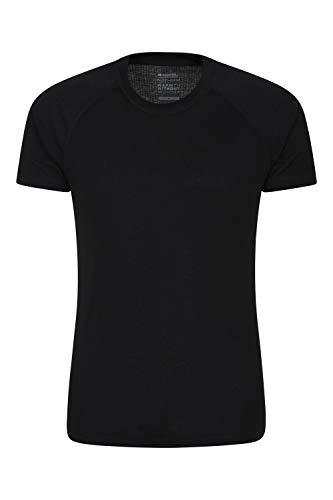 Mountain Warehouse Talus Te Termal de Mens Baselayer - Camisa Corta de la Manga, Cuello Redondo, te de Breathable, Camisa de sequía Caliente Negro XS