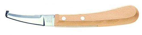 ARNDT DICK Profi Hufmesser Klauenmesser Spezial gehärtete schmale Klinge rostfrei poliert mit Buchenholzgriff -rechts- beidseitig schneidend