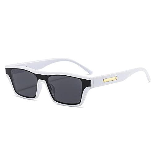 DLSM Moda Gato Ojo Colorido de una Pieza Gafas de Sol Mujeres Vintage Naranja Verde Gafas de Sol Gafas de Sol Tonos UV400 Gris té Playa Fiesta, Ciclismo-Gris Blanco