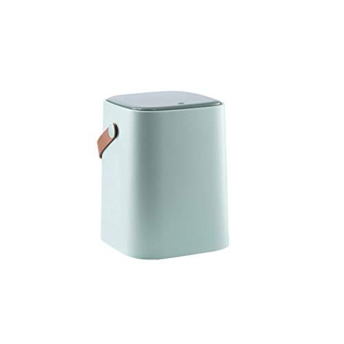 ZRJ Cubo de basura con tapa, con protección contra olores de la tapa, clasificación, cubo de basura, para el hogar, la cocina y el baño, papelera de escritorio (color: verde claro).