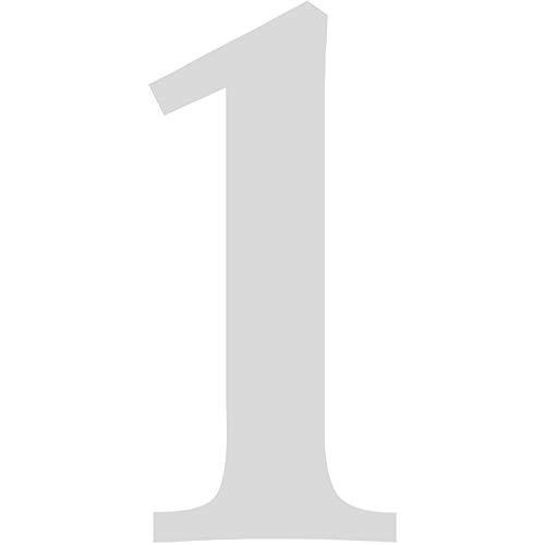Zahlen-Aufkleber Nr. 1 in silber I Höhe 5 cm I selbstklebende Haus-Nummer, Ziffer zum Aufkleben für Außen, Briefkasten, Tür I wetterfest I kfz_478_1