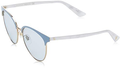 GUCCI GG0245S-004 Gafas de sol, Azul/Blanco/Dorado Brillo, 55 para Mujer