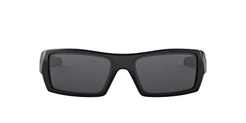 Oakley Men's OO9014 Gascan Rectangular Sunglasses, Polished Black/Grey, 54 mm