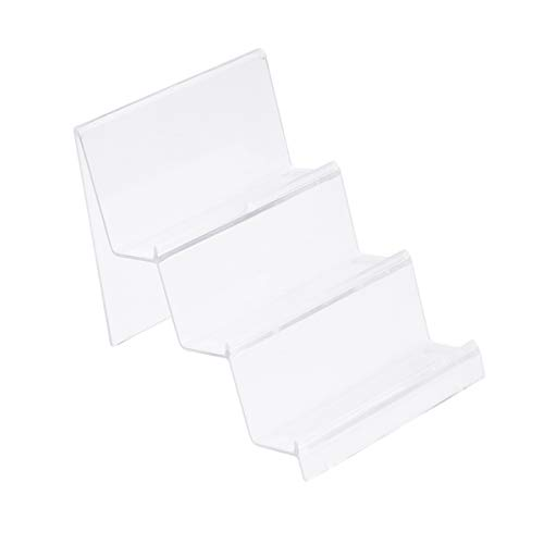 Topbathy, soporte de 3 niveles de acrílico transparente para exhibición de bolsos de mano, soporte para joyas, expositor de cosméticos