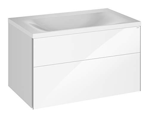 Keuco Badmöbel-Set mit Mineralguss-Waschtisch, Waschtisch-Unterbau mit Frontauszug Hochglanz-weiß, inkl. Ablaufgarnitur, Breite 80 cm Royal Reflex