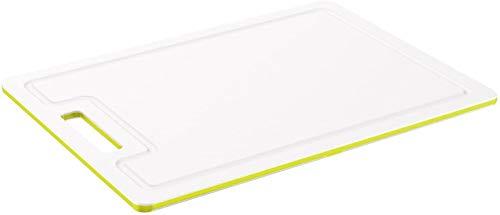 Rotho Caruba Grande Planche à Découper Antidérapante avec Rainure pour le Jus, Plastique (PP) sans BPA, Transparent / Vert, 34,2 x 25,0 x 0,9 cm