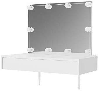 Vicco Schminktisch Alessia Frisiertisch Kommode Frisierkommode Spiegel Weiß inklusive LED-Lichterkette