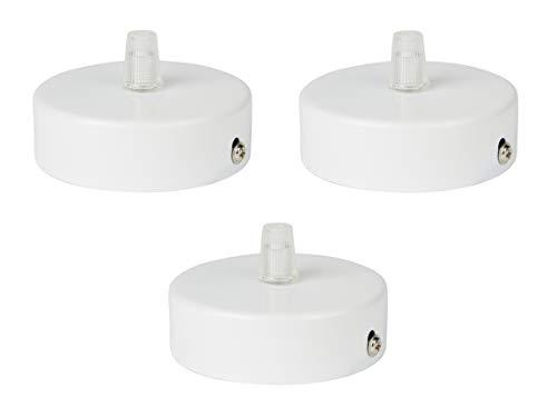 Copricavi per lampadario in acciaio inox bianco (opaco), 80x 25mm comprende pressacavo trasparente contemporaneo Numero: 3 unità