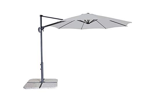 Derby Ravenna Smart 300 – Hochwertiger Ampelschirm ideal für Garten und Terrasse – Neigbar – ca. 300cm – Hellgrau