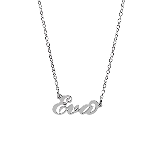Collar de mujer con nombre de acero en cursiva, elegante, gargantilla ajustable, antialérgica, color plateado, caja de regalo incluida, Sandra, Acero inoxidable,