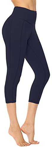 Persit Sport Leggings Damen 3/4, Capri Sporthose Sport Leggins Yoga-Hose für Damen Dunkelmarine - 40-42 (Herstellergröße: L)