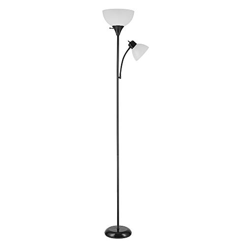 Globe Electric 67135 Delilah 72' Torchiere Adjustable Reading Light, Plastic, 3-Step Floor Lamp Socket, Rotary On/Off Switch, 72.88', Matte Black with Frosted Shade