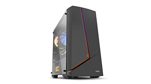 Nox Infinity Alpha -NXINFTYALPHA- Minitorre ARGB Rainbow Micro ATX-ITX, ventilador ARGB 120mm incluido, USB 2.0 - 3.0 - Audio hub, espacio hasta 6 ventiladores, panel lateral templado, color negro