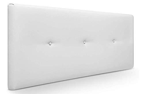 Muebles Pejecar Cabeceros de Camas 145 cm. Nora, Cabecero Tapizado Color Blanco. (145 cm de Ancho x 50 cm de Alto)