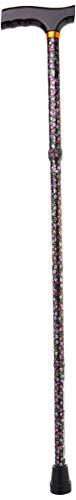 Drive Medical Lightweight Adjustable Folding Cane with T Handle Black Floral Universal
