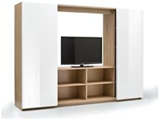 Mobile Pared Puerta TV con 2 Puertas correderas de Roble y Blanco ...
