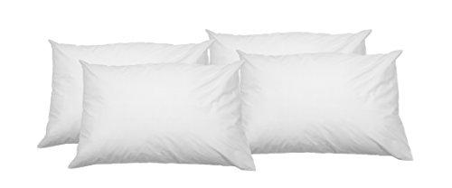 Amazon Basics - Federa copricuscino in 100% cotone morbido, con cerniera, 100% cotone, con cerniera, bianco, 50 x 80 cm - 4 pz