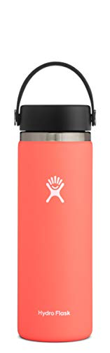 Hydro Flask Water Bottle - Stainless Steel & Vacuum Insulated - Wide Mouth 2.0 with Leak Proof Flex Cap - 20 oz, Hibiscus