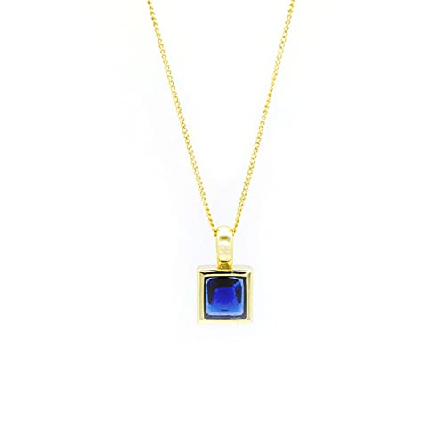 Collar de plata de ley con colgante de cristal azul para mujer