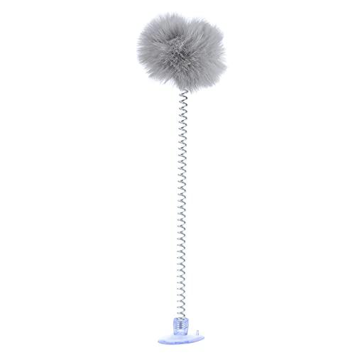 YHFJB Juguete de bola de plumas para gatos domésticos, auto-interactivo, palillo con juego básico de ejercicios, color gris