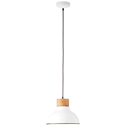 BRILLIANT lamp Pullet hanglamp 30cm wit/licht hout |1x A60, E27, 40W, geschikt voor normale lampen (niet inbegrepen) |Schaal A ++ tot E |Geschikt voor LED-lampen